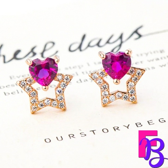 FingerBlingers Jewelry - Star Heart Ruby Earrings